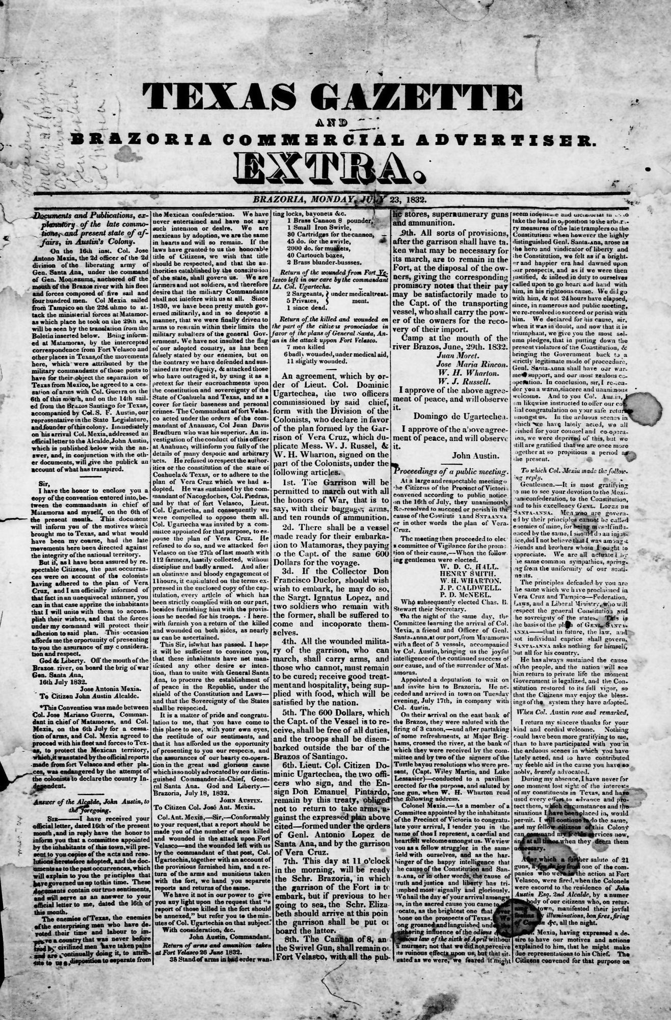 texas gazzete 23 july 1832